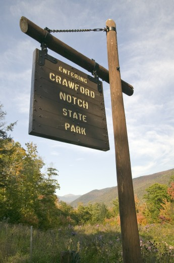 Sign reads Entering Crawford Notch State Park, New Hampshire : Stock Photo