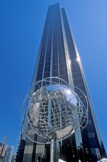 Globe Sculpture in front of Trump International Hotel and Tower on 59th Street, New York City, NY : Stock Photo