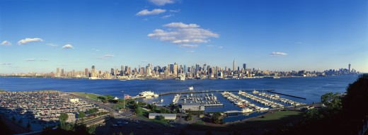 Stock Photo: 1599-11224 Panoramic view of Midtown Manhattan, NY skyline with Hudson River and harbor, shot from Weehawken, NJ