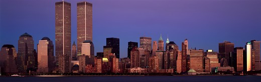 Stock Photo: 1599-11232 Panoramic view of lower Manhattan and New York City skyline, NY with World Trade Towers at sunset