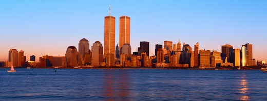 Stock Photo: 1599-11233 Panoramic view of lower Manhattan and Hudson River, New York City skyline, NY with World Trade Towers at sunset