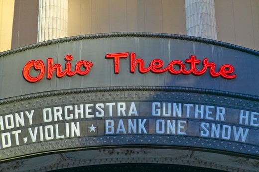 Ohio Theater marquee theater sign advertising Columbus Symphony Orchestra in downtown Columbus, OH : Stock Photo