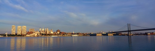 Panoramic view of Delaware River as seen from Camden New Jersey of Philadelphia, PA at sunrise : Stock Photo