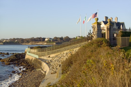 Stock Photo: 1599-11390 The Cliff Walk, Cliffside Mansions of Newport Rhode Island