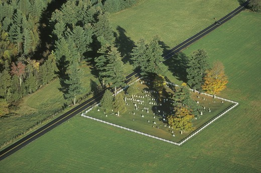 Aerial view of a family cemetery in autumn, VT : Stock Photo