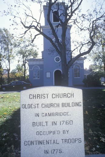 Historical church and burying ground, Cambridge, MA : Stock Photo