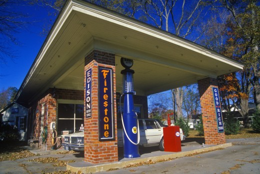Stock Photo: 1599-11843 Historic Firestone gas station,  Mathews, VA