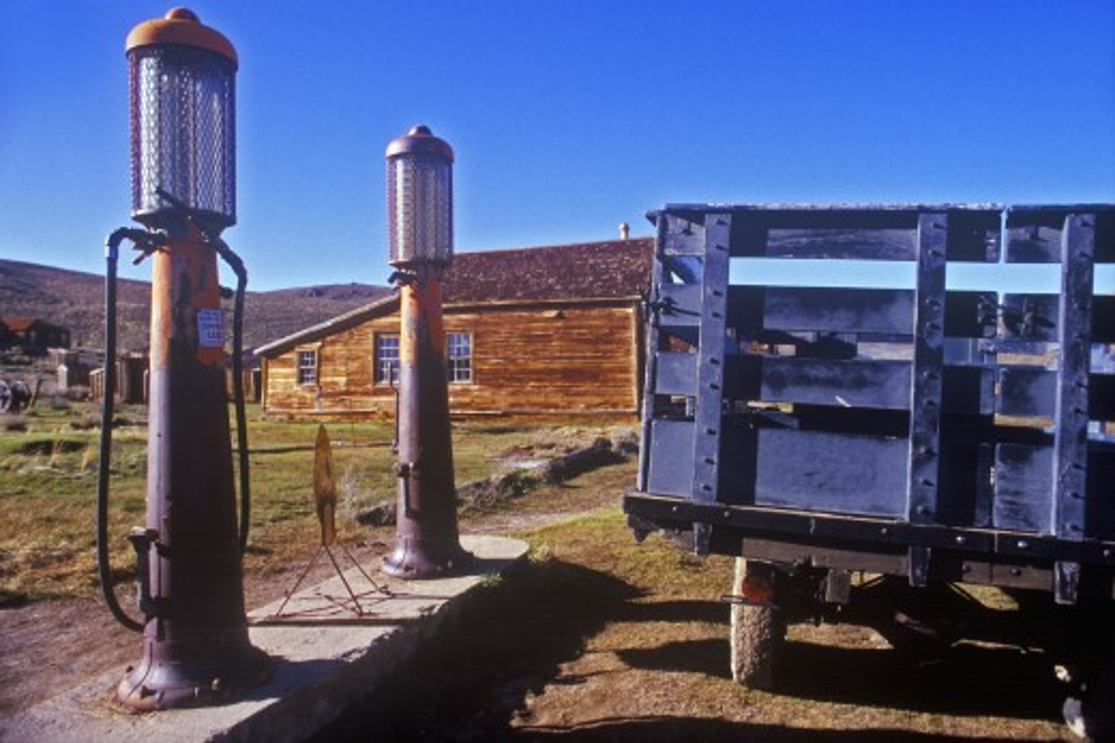 Antique gas pumps,  Bodie, CA : Stock Photo