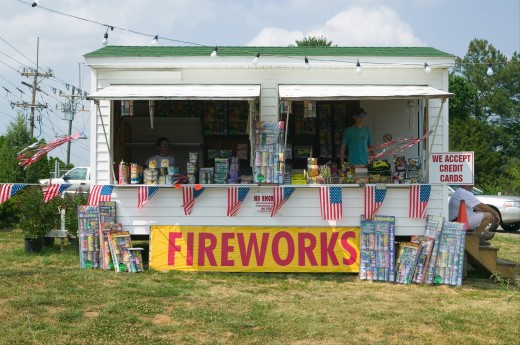Fireworks stand on route 29 in rural Virginia : Stock Photo