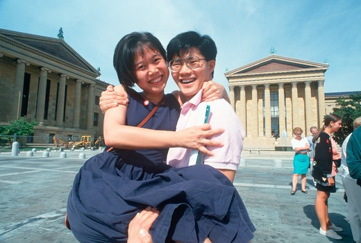 Stock Photo: 1599-12184 Korean-American newlyweds at the Philadelphia Museum of Art, Pennsylvania