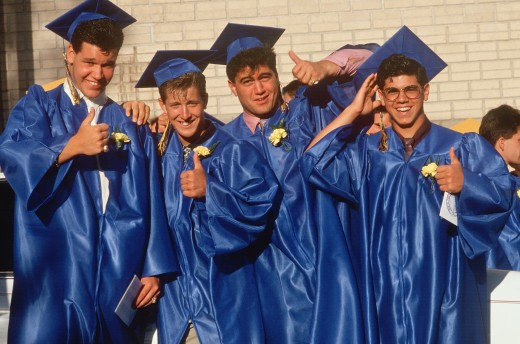 Stock Photo: 1599-12390 High school graduates celebrating, Providence, RI