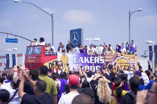 Victory parade for 2009 NBA Champion Los Angeles Lakers, June 16, 2009 : Stock Photo