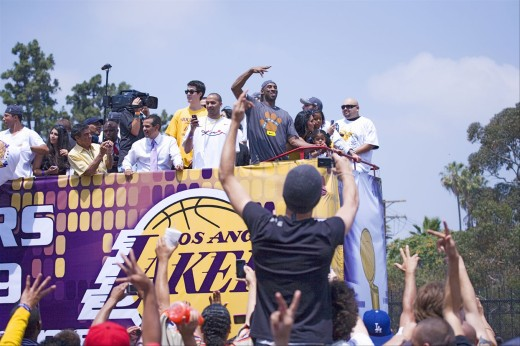 Stock Photo: 1599-13125 Victory parade for 2009 NBA Champion Los Angeles Lakers, June 16, 2009
