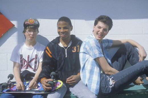 Three teenage boys posing for a picture at the Dairy Queen,Otis, OR : Stock Photo