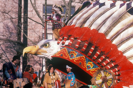 Stock Photo: 1599-13375 Native American float in Macy's 50th annual Thanksgiving Parade in New York, New York