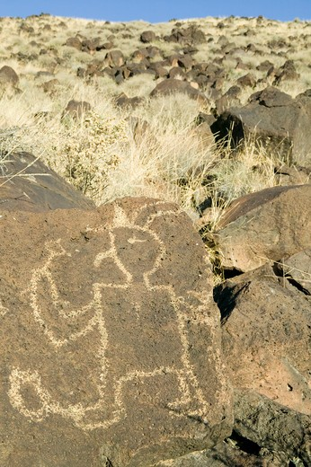Native American petroglyphs at Petroglyph National Monument, outside Albuquerque, New Mexico : Stock Photo