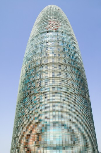 Stock Photo: 1599-13672 Day view of phallic-shaped Torre Agbar or Agbar Tower in Barcelona, Spain, designed by Jean Nouvel, September 2006