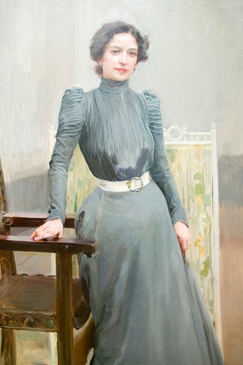 Painting of Sorolla's wife by Joaquín Sorolla y Bastida (1863-1923) as seen in The Sorolla Museum, Madrid, Spain : Stock Photo