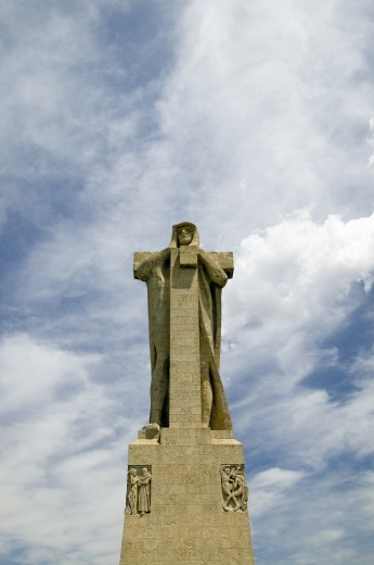 Stock Photo: 1599-13778 Monumento a Cristobal Colón, a huge monument of Christopher Columbus by American architect G.V. Whitney, situated at the Punta de Sebo overlooking the confluence of the Odiel and Tinto rivers, Huelva Province, Andalucia, Spain