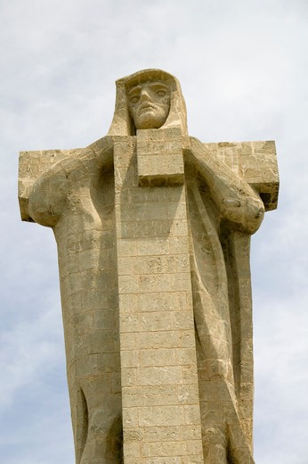 Stock Photo: 1599-13781 Monumento a Cristobal Colón, a huge monument of Christopher Columbus by American architect G.V. Whitney, situated at the Punta de Sebo overlooking the confluence of the Odiel and Tinto rivers, Huelva Province, Andalucia, Spain