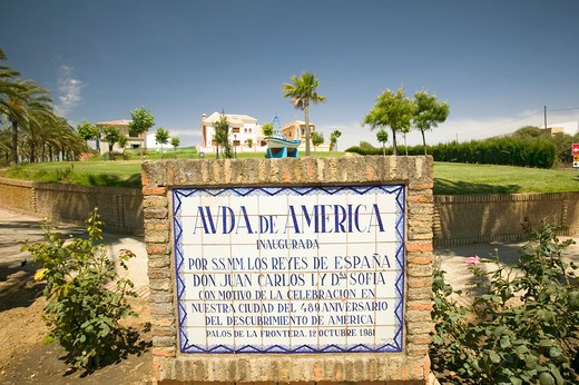 Stock Photo: 1599-13785 Tile sign along the Avenida de America reads, 'Ave. of America inaugurated by HH.MM the sovereigns of Spain Don Juan Carlos I and Dna. Sofia on occasion of the celebration in our city of the 489th anniversary of the discovery of America. Palos de la Frontera. 12 of October, 1981', Palos de la Frontera, Huelva, Southern Spain