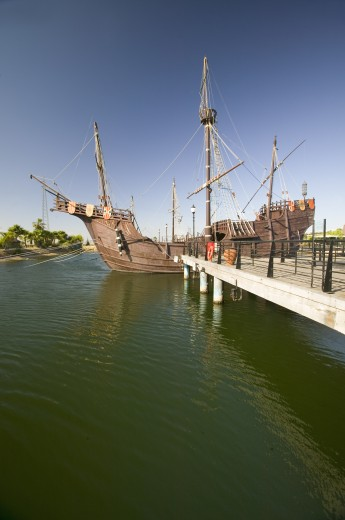 Stock Photo: 1599-13807 Full size replicas of Christopher Columbus' ships, the Santa Maria, the Pinta or the Niña at Muelle de las Carabelas, Palos de la Frontera - La Rábida, the Huelva Provence of Andalucia and Southern Spain, the site where Columbus departed from the Old World to the New World in August 3 of 1492