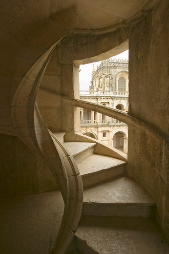 Circular stairway of the Convent of the Knights of Christ and Templar Castle, founded by Gualdim Pais in 1160 AD, is a Unesco World Heritage Site in Tomar, Portugal : Stock Photo