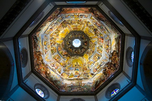 Interior view of Last Judgment Fresco Cycle in dome of Cathedral of Santa Maria del Fiore, The Duomo, Florence, Italy, Europe : Stock Photo