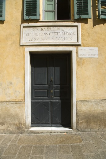 Stock Photo: 1599-14008 Front door of Napoleon Bonaparte's birthplace, on the Mediterranean Sea, Corsica, France, Europe