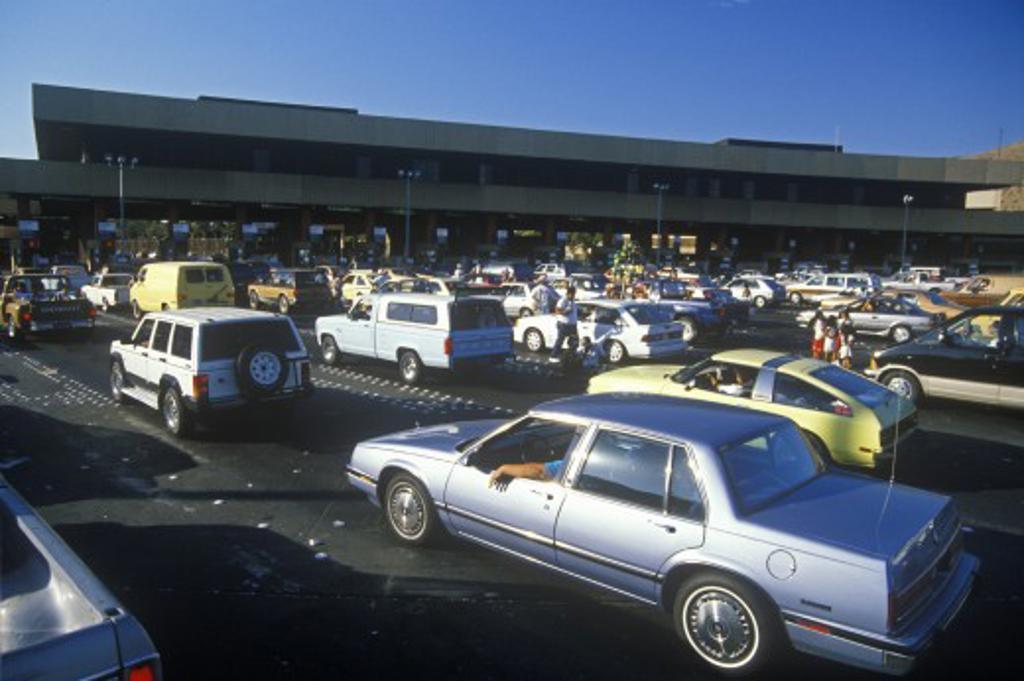 USA/Mexico border from Tijuana into San Diego, CA : Stock Photo
