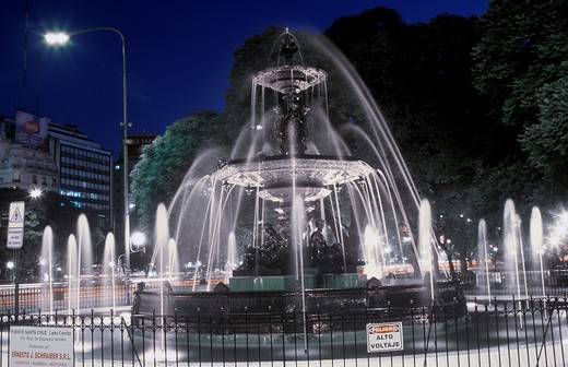 Stock Photo: 1599-14328 Water fountain on Avenida 9 de Julio at Night, Widest Avenue in the World, Buenos Aires, Argentina