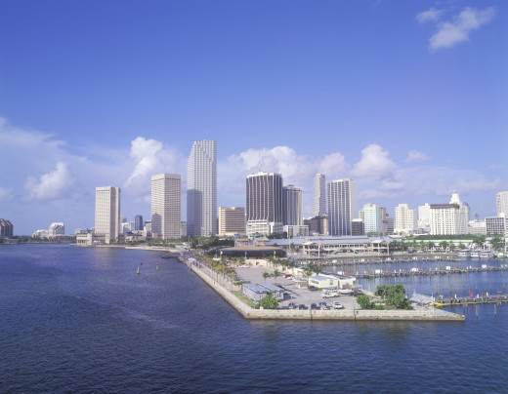 Stock Photo: 1599-2020 Skyline of Miami Beach, Florida from bay