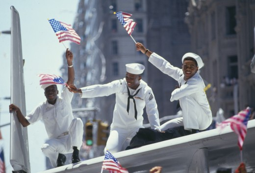 Three African-American Sailors Celebrating Desert Storm Victory Parade, New York City, New York : Stock Photo
