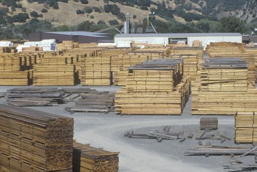 Stock Photo: 1599-2529 Cut lumber stacked at a lumber mill in Willits, California