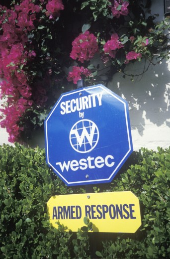Sign: Security service, Los Angeles, California : Stock Photo