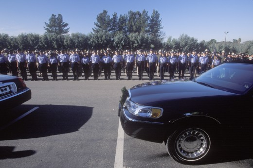 Stock Photo: 1599-3077 Police officers at funeral ceremony, Pleasanton, California