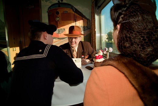 1940's reenactors interact on Pearl Harbor Day Troop train reenactment from Los Angeles Union Station to San Diego : Stock Photo