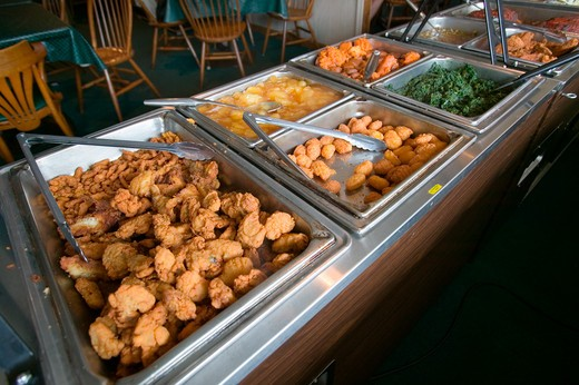 Stock Photo: 1599-3537 Buffet food bar in Eastern Shore, Maryland