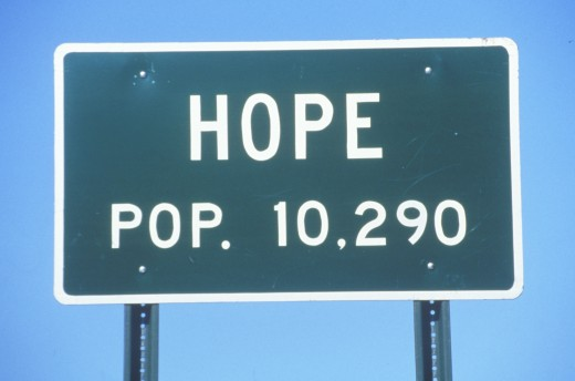Stock Photo: 1599-3964 Road sign for city of Hope in Hempstead County, Arkansas