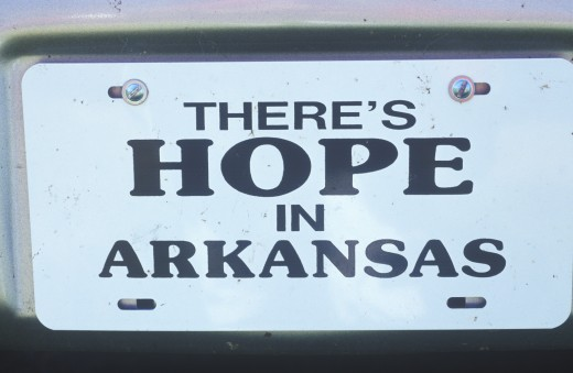 Town sign for city of Hope in Hempstead County, Arkansas : Stock Photo