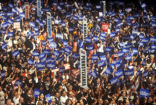 State delegations and signs at the 2000 Democratic Convention at the Staples Center, Los Angeles, CA  : Stock Photo