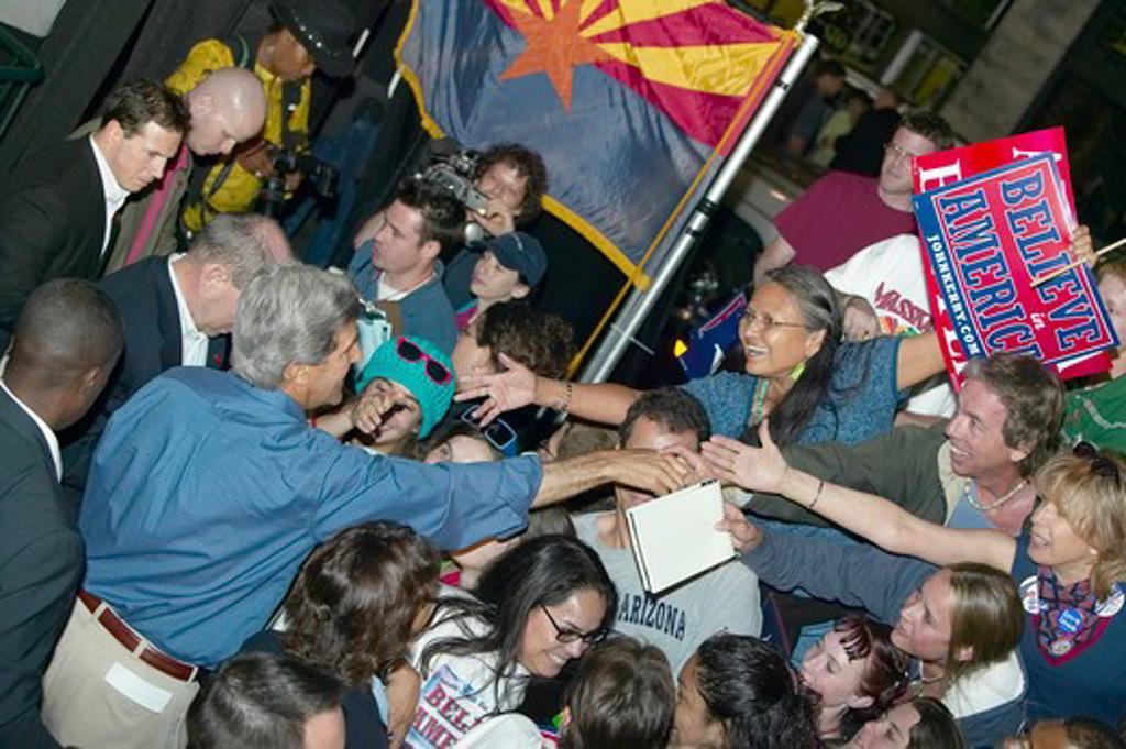 Stock Photo: 1599-4261 Senator John Kerry shaking hands in crowd at Heritage Square, Flagstaff, AZ