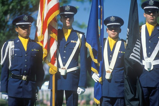 Stock Photo: 1599-5065 Soldiers Holding Flags, Memorial Day, Veteran's National Cemetery, Los Angeles, California