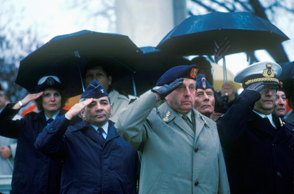 Veterans Saluting, Arlington National Cemetery, Washington, D.C. : Stock Photo