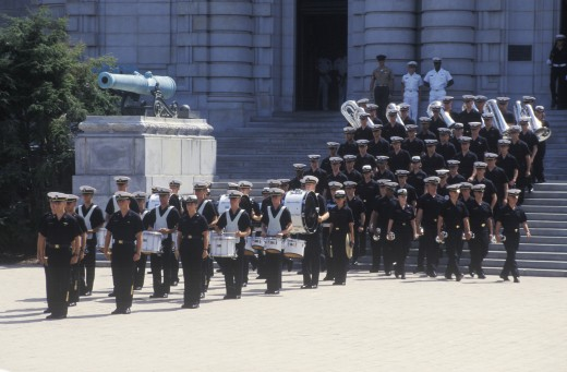 Marching Band, United States Naval Academy, Annapolis, Maryland : Stock Photo