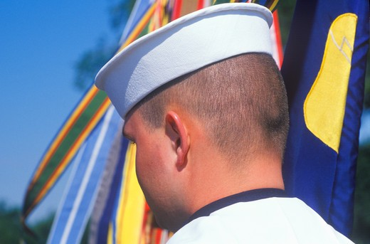 Rear View of Sailor, Desert Storm Victory Parade, Washington, D.C. : Stock Photo
