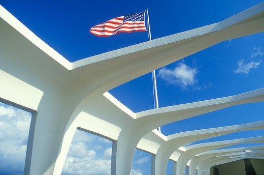 American Flag Flying over USS Arizona Memorial Museum, Pearl Harbor, Oahu, Hawaii : Stock Photo