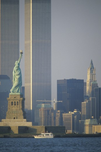 Stock Photo: 1599-5376 Statue of Liberty with the World Trade Center Buildings at Sunset, New York City , New York