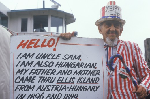 Stock Photo: 1599-5451 Hungarian/American Man Dressed as Uncle Sam, Ellis Island, New York City