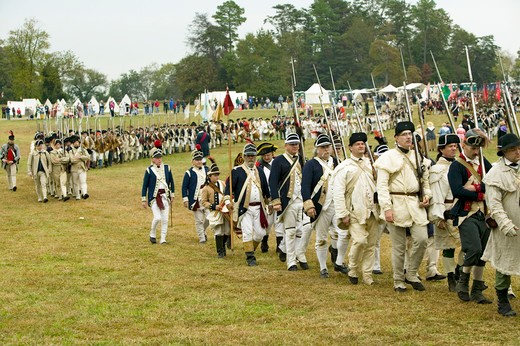 Stock Photo: 1599-5942 The 225th Anniversary of the Victory at Yorktown, a reenactment of the siege of Yorktown, where General George Washington commanded 17,600 American troops and French Comte de Rochambeau lead 5500 French troops, together defeating General Lord Cornwallis, who surrendered his arms on October 19, 1781, ending the Revolutionary War, thus making the 13 Colonies the United States of America, an independent nation. On October 19-22, 2006, the Yorktown anniversary was reenacted by over 3000 men, women a